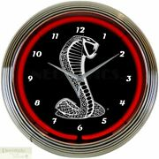 Ford Cobra Snake Logo Red 15 Neon Wall Clock Glass Face Chrome Plate Warranty
