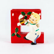 Vtg Napco Christmas Red Noel Letter E Angel Candle Holder Figurine Replacement