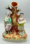Antique Staffordshire Figural Spill Vase With Fisherman And Lady Fishmonger