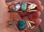 Old Pawn Native American Pueblo Turquoise Handmade Sterling Cuff Bracelet Lot