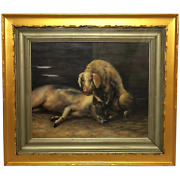 20th Century Oil Painting Study Of Country Farm Animals Pigs In Outhouse