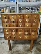 Vintage 30 Drawers Library Card Catalog Storage Cabinet