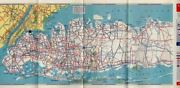 Long Island New York Esso Beacon Oil Company Vintage 1940s Travel Foldout Map