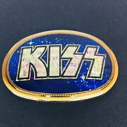 Vintage Kiss Pacifica Collectible Blue Gold Prism Belt Buckle 1977 Very Cool