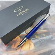 New Parker Duofold Classic Blue And Black Pt Ballpoint Pen