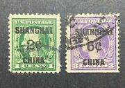 Us Stamp Scott K1 And K3 Shanghai Overprints Offices In China Used Lot Cat. 225