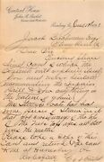 Central House Hotel Reading Pennsylvania Antique Signed Advertising Letter 1891