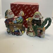 Fitz And Floyd's Santa's List Creamer And Sugar Bowl With Spoon 1996