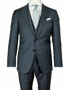Caruso Suit In Dark Grey With Waistcoat From Superfine 130's Wool Regeur1990