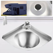 Stainless Steel Sink Hand Washing Sink W/faucet And Drain Plug For Boat Caravan Rv