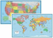 48x78 World And Usa Classic Elite Huge Two Wall Map Set - Laminated