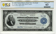 1918 2 Federal Reserve Bank Note Battleship Cleveland Fr.757 Low Serial Pcgs 63
