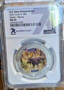 2021 Cook Islands 5 Maine Moose Graded Ms70 State Animals 1 Oz Silver Coin 7k