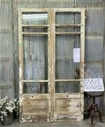 8 Pane French Glass Doors, Antique French Double Doors, Old Wood Doors, M15