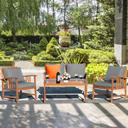 4 Pcs Wooden Patio Furniture Set Table Sofa Chair Cushioned Pool Yard Outdoor