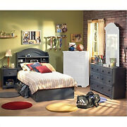 South Shore Antique Blue Kids Twin Wood Captainand039s Bed 4 Piece Bedroom Set