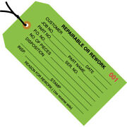 4 3/4 X 2 3/8 And039repairable/reworkand039 Inspection Tags Prestrung Green -10000 Pcs
