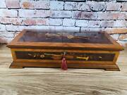Large Reuge Inlay Wood Music Jewelry Box 72 Note 3 Part Memory