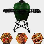 24in Round Ceramic Charcoal Grill Bbq Barbecue Camping Garden Outdoor Egg
