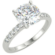 1.61 Ct Round Cut Si1/d Solitaire Pave Diamond Engagement Ring 14k White Gold