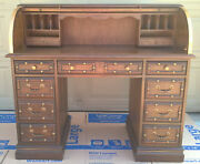 Rolltop Desk Works Perfectly 9 Drawers Heavy Solid Wood Mahogany/walnut Finish