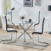 5 Piece High Back White Chair Glass Table Dining Set Home Furniture Space Saving