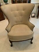 1920and039s - 1930and039sandnbsp Antique Beige Wingback Chair