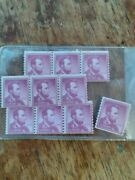 Rare Never Used Mint 1954andnbsp Abraham Lincoln 4 Cent Purple Stamp - 10 Stamps
