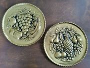 Vintage Metal Fruit Gold Finish Wall Décor Made In England Set Of 2