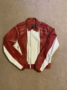 Vintage Red White Leather Zipper Jacket Michael Jackson Fight Club Style 80andrsquos 40