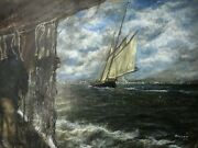 Fine Marine Oil Painting Sea Captains View From The Deck Ships By Shoreline