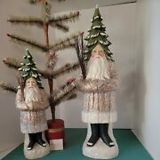 Humongous 24 Vintage Primitive Bethany Lowe Evergreen Belsnickle Santa Tag