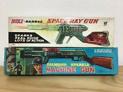2 Tin Toy Japanese Friction Powered Guns With Original Boxes, Working Condition.