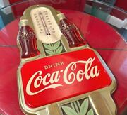 Coca Cola 1941 Double Bottle Gold Thermo Sign