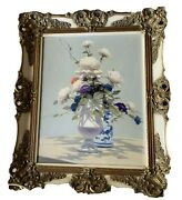 Vintage Andre Gisson Oil On Canvas Framed Painting Flowers Chinoiserie Signed