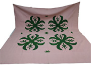 Unusual Green And White Clover Antique Handmade King Quilt 97x97 - Pennsylvania