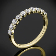 2.00 Ct Round Diamond Shared Prong Eternity Bend Yellow Silver Ring Christmas