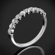 2.00 Ct Vvs1 Round Diamond Shared Prong Eternity Bend Silver Ring Christmas Gift