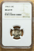 1946 S Roosevelt Dime 10andcent - Ngc Ms67 Ft - Toned