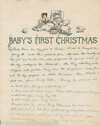 Baby's First Christmas Lamb And Toys Antique Graphic Illlustration Nursery Print