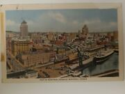 Signed Posted 1953 Montreal Habour Canada Linen Postcard