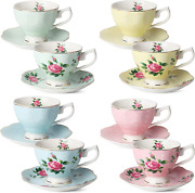 Btat- Floral Tea Cups And Saucers, Set Of 8 8 Oz Multi-color With Gold Trim An