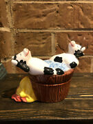 Cows In Wash Tub/hot Tub Salt And Pepper Shakers Cermic Never Used