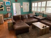 Restoration Hardware Maxwell Leather Petite Sofa Brompton Cocoa Couch W/ Chaise
