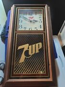 """Vintage 20.5"""" X 14"""" 7-up Advertising Clock Sign Tested, Works Minor Flaws"""