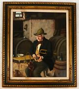 Hans Kerner Listed European 20th Cent Artist An Old Man In A Bar Signed