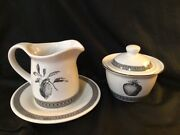 Pfaltzgraff Farmers Market Strawberry Black Sugar Bowl And Lid And Creamer And Plate