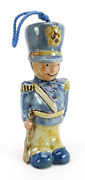 Louisville Stoneware Pottery Blue And Yellow Toy Soldier Christmas Ornament 6