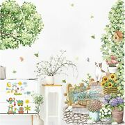 Tropical Plant Flowers Wall Decals Green Leaves Vine Cat Wall Stickers, Removabl