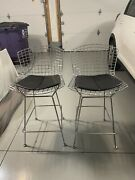 Authentic Bertoia Counter Stools With Seat Pads- Set Of Two- Local Pick Up Only